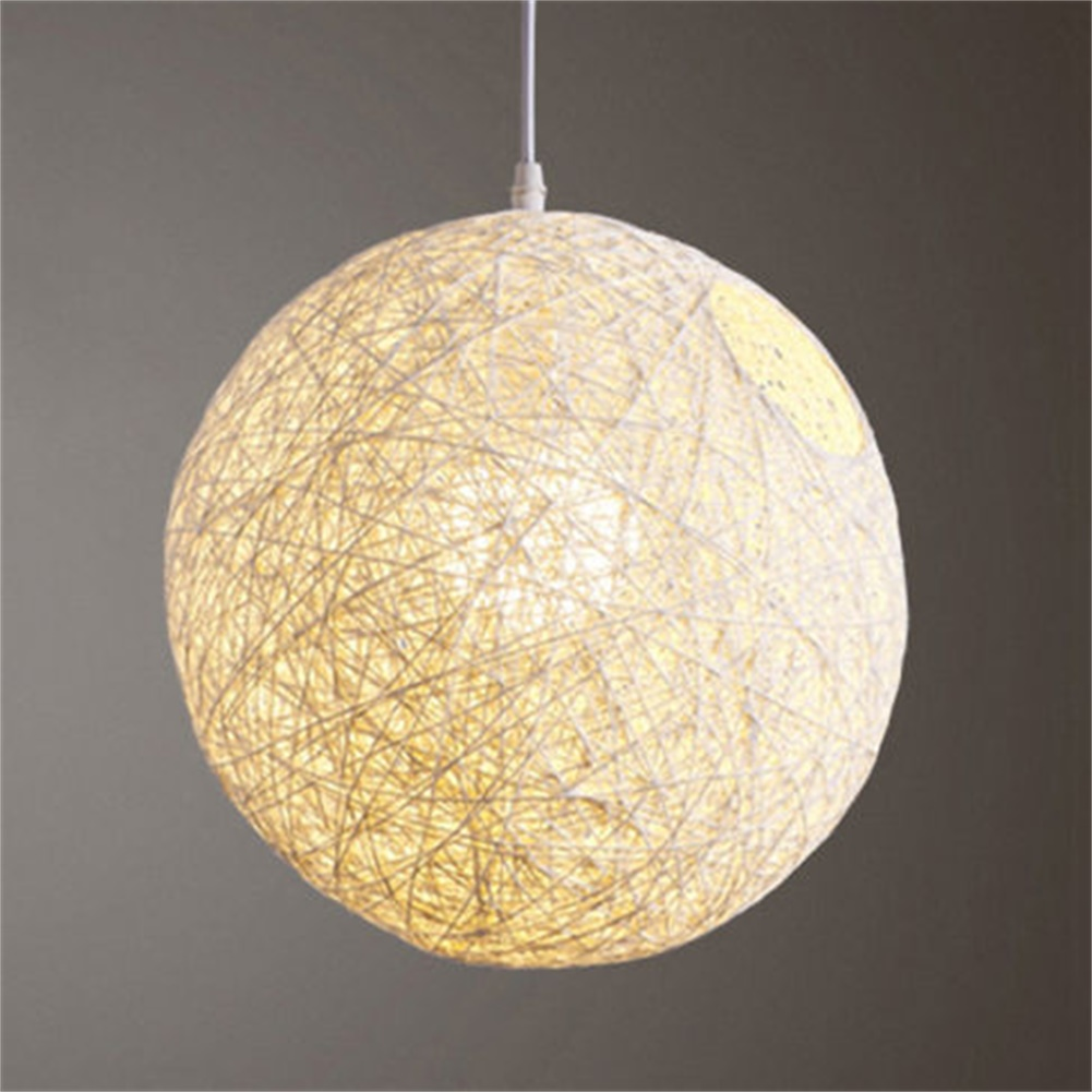 Details About Rattan Wicker Ball Ceiling Light Pendant Round Lamp Shade Simple Fixtures Home
