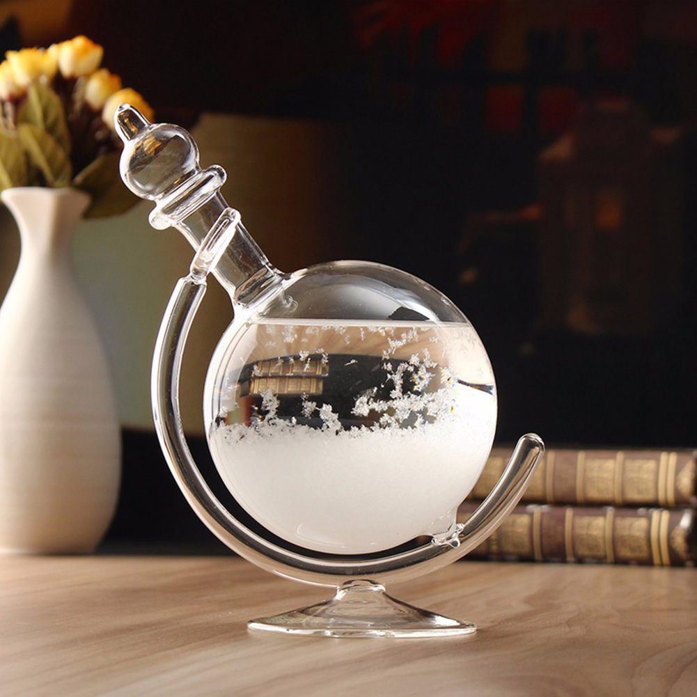 Storm Glass Weather Barometer Forecast Crystal Drops Globe Shape