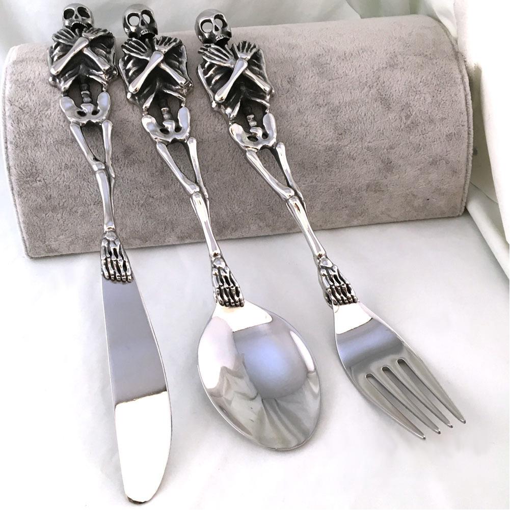 Skull Cutlery Set Stainless Steel Western Dinnerware Fork/Spoon/Knife Dinner Set  sc 1 st  eBay & Skull Cutlery Set Stainless Steel Western Dinnerware Fork/Spoon ...