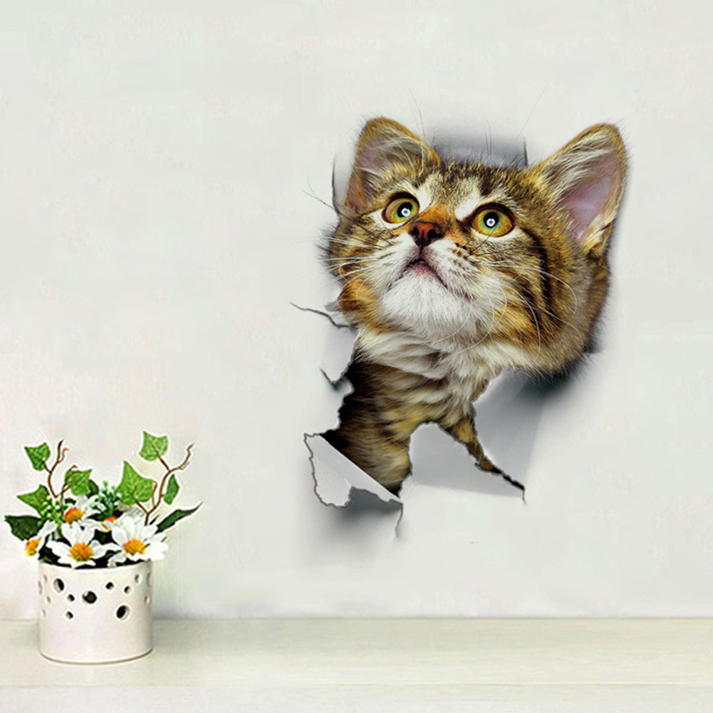 3d Cat Wall Sticker Bathroom Toilet Living Room Home Decor