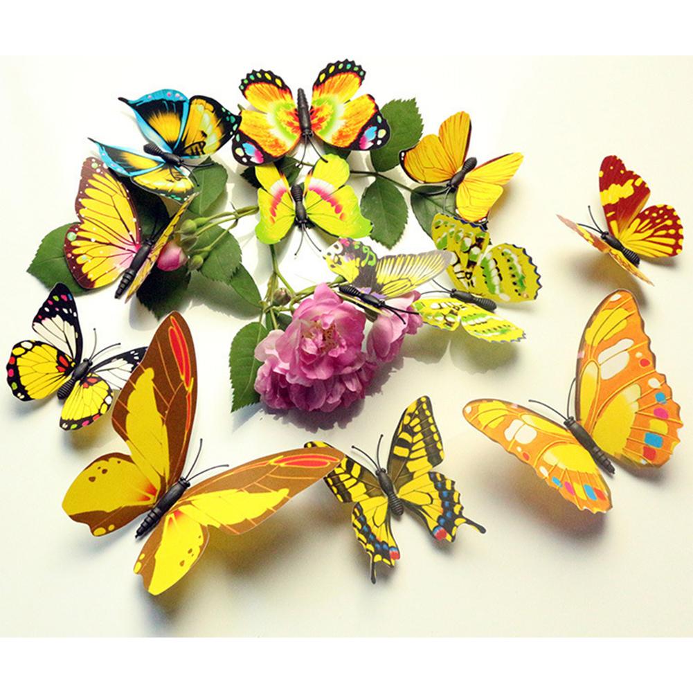 12 PCS 3D Butterfly Fridge Magnet Wall Sticker Living Room Decor ...