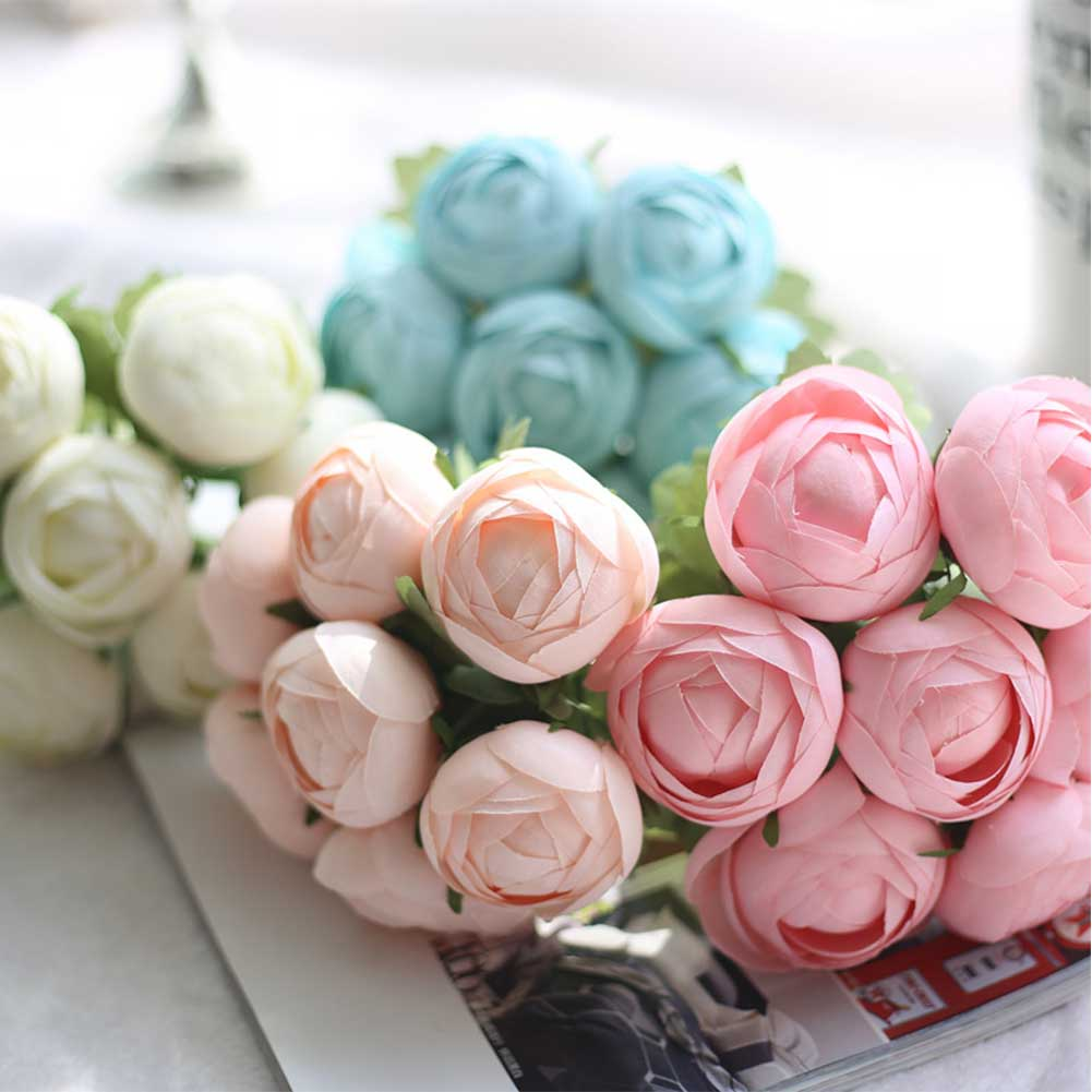 7 Heads Artificial Cloth Flowers Ranunculus Wedding Bouquet Party