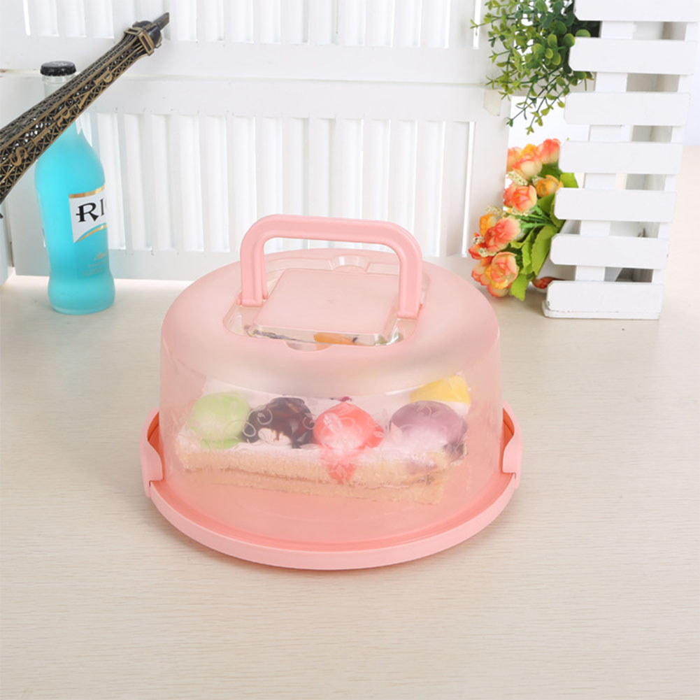 Portable-Handheld-Round-Plastic-Cake-Storage-Box-Cupcake-Carrier-Container
