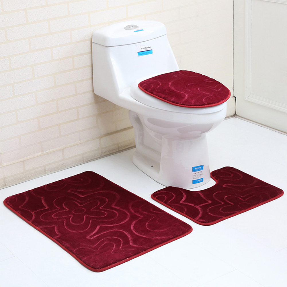 3 Stk rutschfeste Badezimmermatten-Set Toiletten-Abdeckung U-Form ...