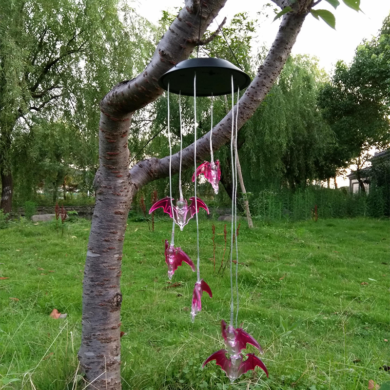 Solar Power Wind Chime Light LED Garden Hanging Spinner