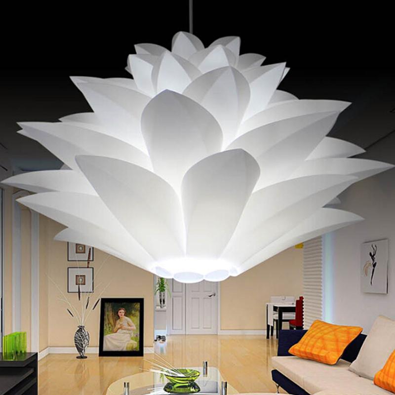 E27-Lustre-Lotus-bricolage-Plafonnier-moderne-abat-jour-pendentif-eclairage miniature 12