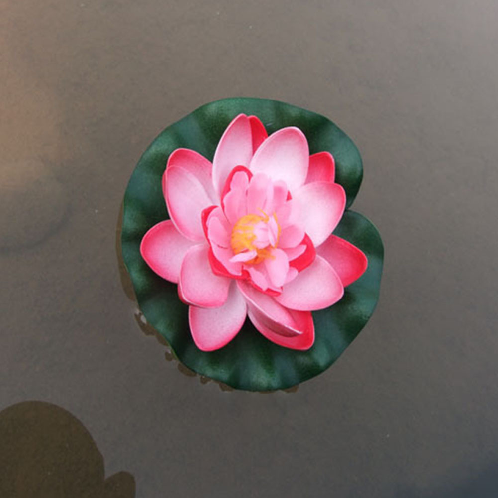 10cm Simulate Water Lily with 2-layer Flower Petals Fish Tank Pool ...