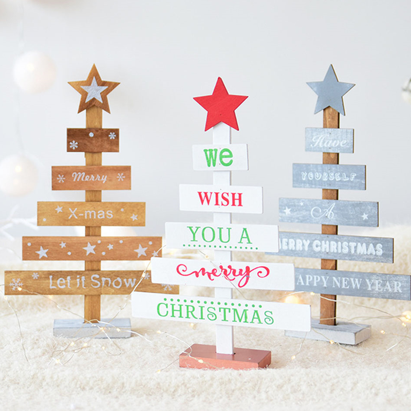 image is loading wood desktop small christmas tree mini ornament colored