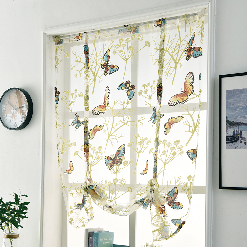 Butterfly pattern short sheer curtains roman blind tulle curtains for decoration
