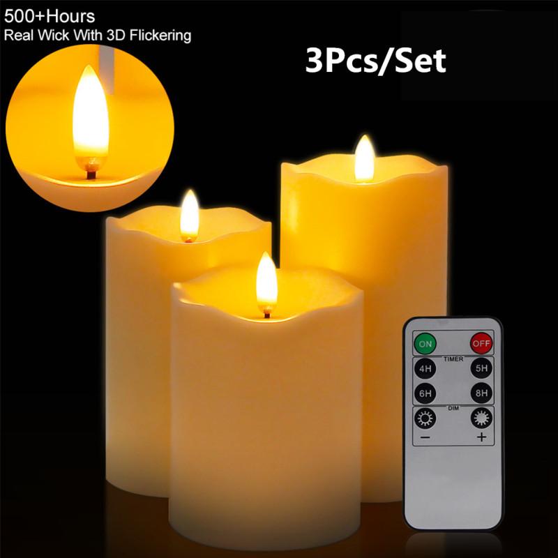 3 x led kerzen mit fernbedienung timer flammenlose echtwachskerzen teelichter ebay. Black Bedroom Furniture Sets. Home Design Ideas