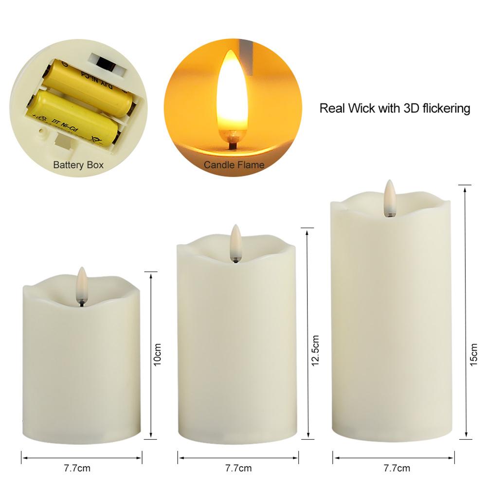 dhl 3x led kerzen mit fernbedienung timer flammenlose. Black Bedroom Furniture Sets. Home Design Ideas