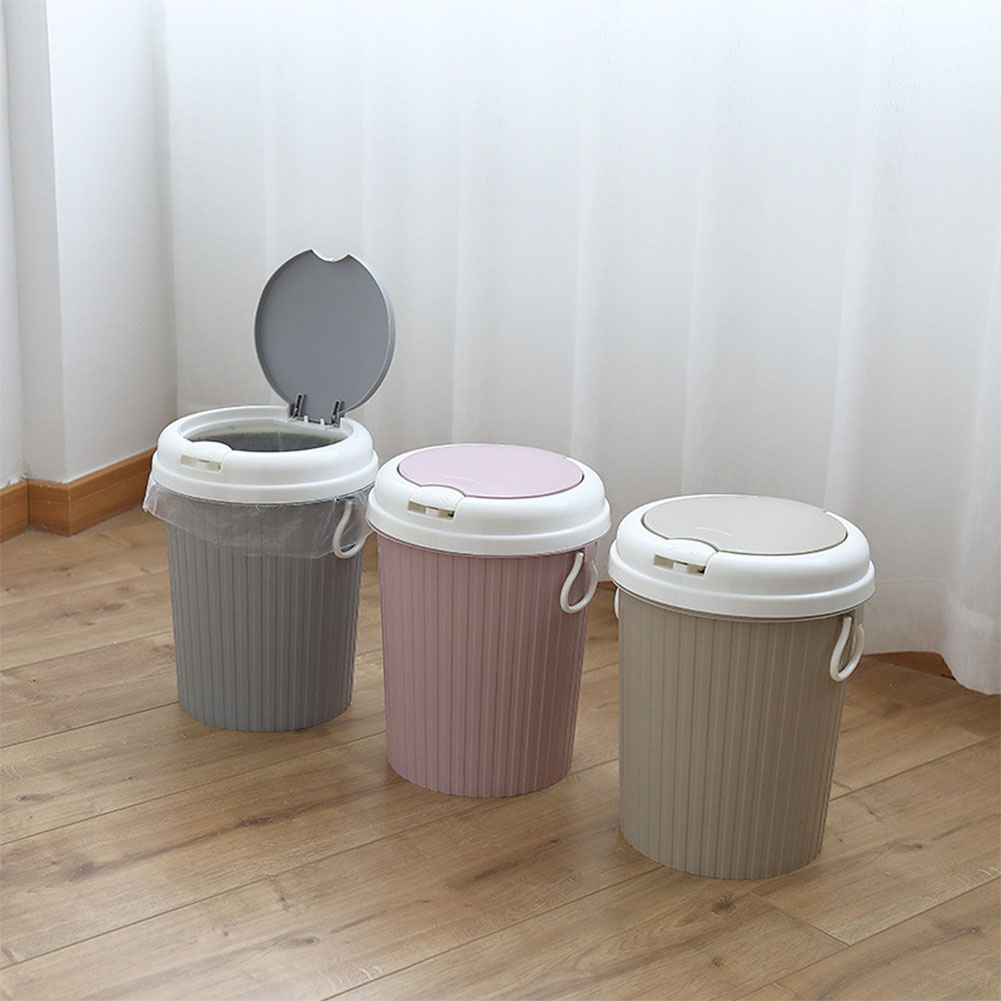 Kitchen Waste Bins: Portable Trash Can Garbage Bin Swing Lid Home Bathroom