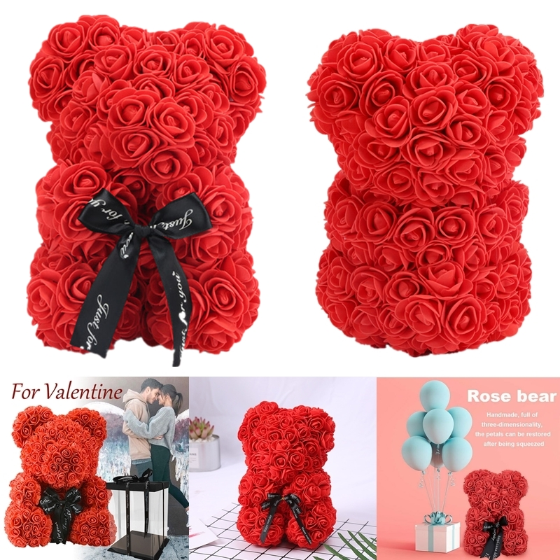 Artificial Decorations Rose Bear Toy Women Girls Flower Birthday Valentine Wedding Party Doll Gift