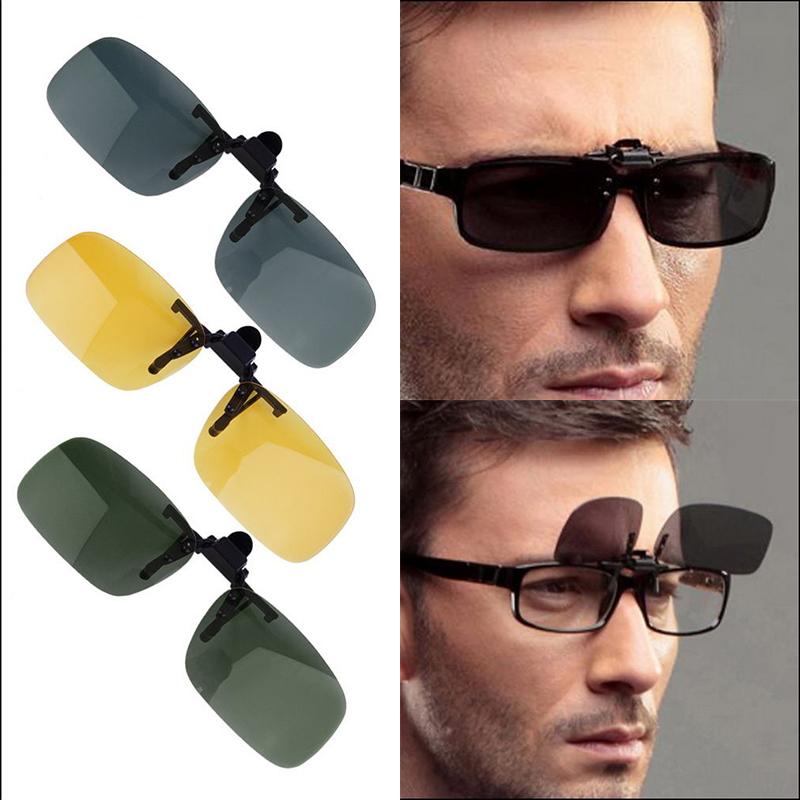29e7c9ec55b7 US Night Vision Polarized Driving Clip-on Flip-up Lens Sunglasses Glasses  Yellow