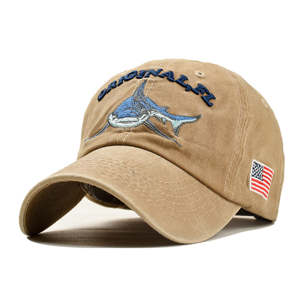 64f488f85 Details about EMBROIDERED LETTERING SHARK PATTERN Baseball Cap Fashion  Denim Sun Shade Hat