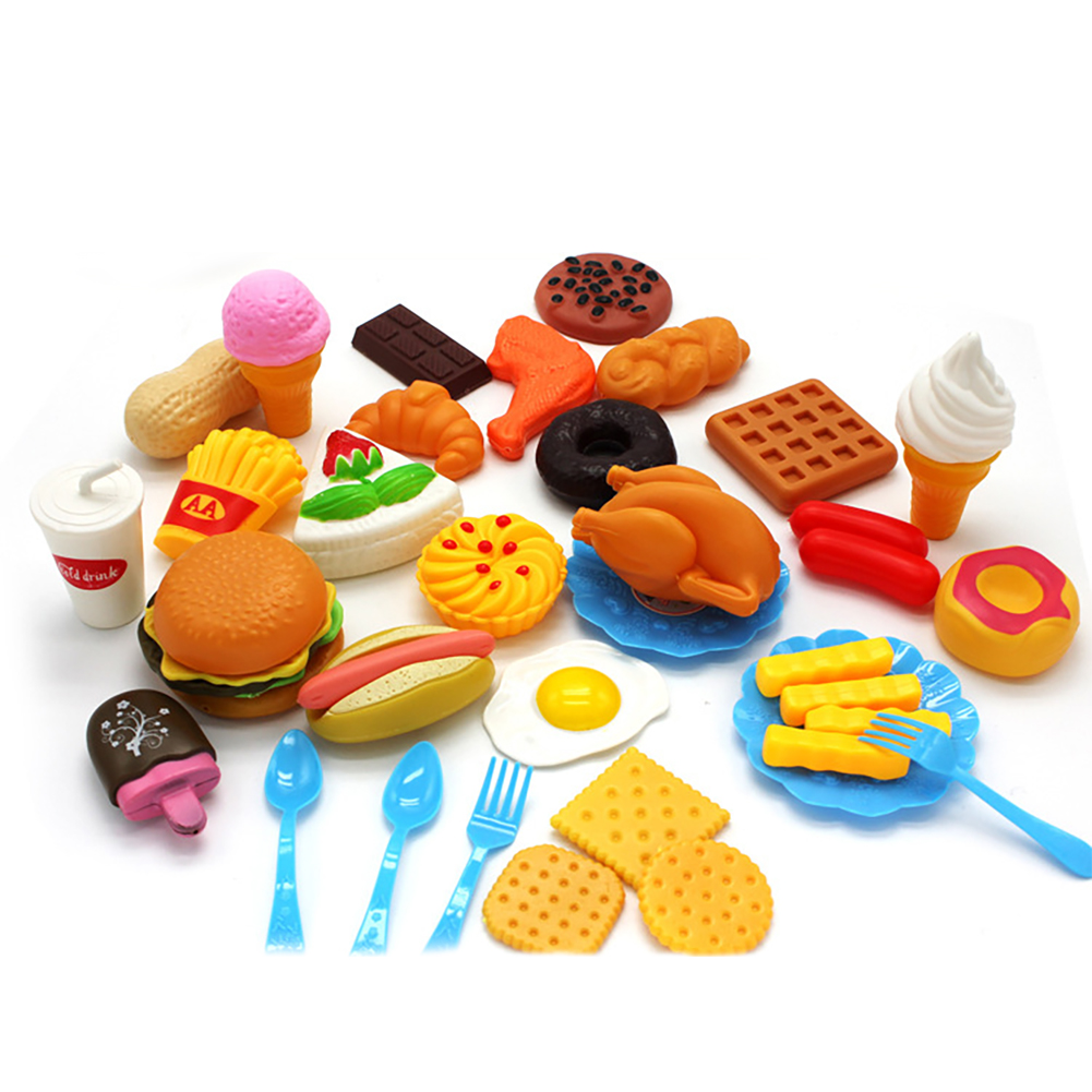 Details About 34pcs Fun Play Food Set For Kids Kitchen Cooking Kid Toy Lot Pretend Children