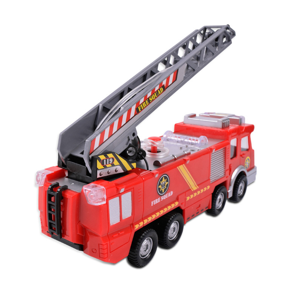 Simulation-Mini-Fire-Truck-Modell-mit-Omnibearing-Schwenkrohr-Kinder-Cartoon Indexbild 2