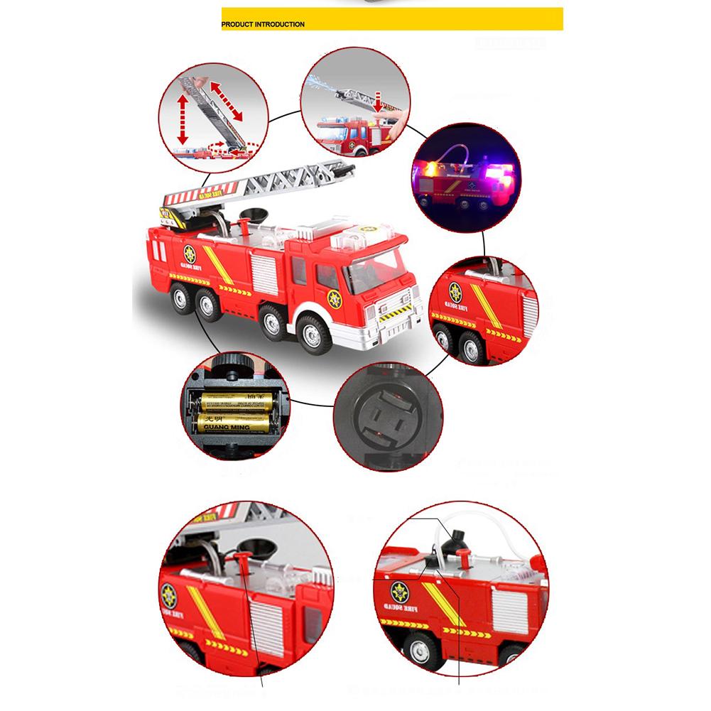 Simulation-Mini-Fire-Truck-Modell-mit-Omnibearing-Schwenkrohr-Kinder-Cartoon Indexbild 6