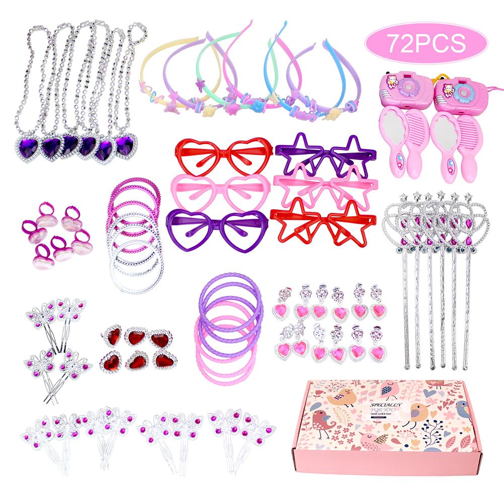 72Pcs Princess Pretend Jewelry Toy,Girl's Jewelry Dress Up