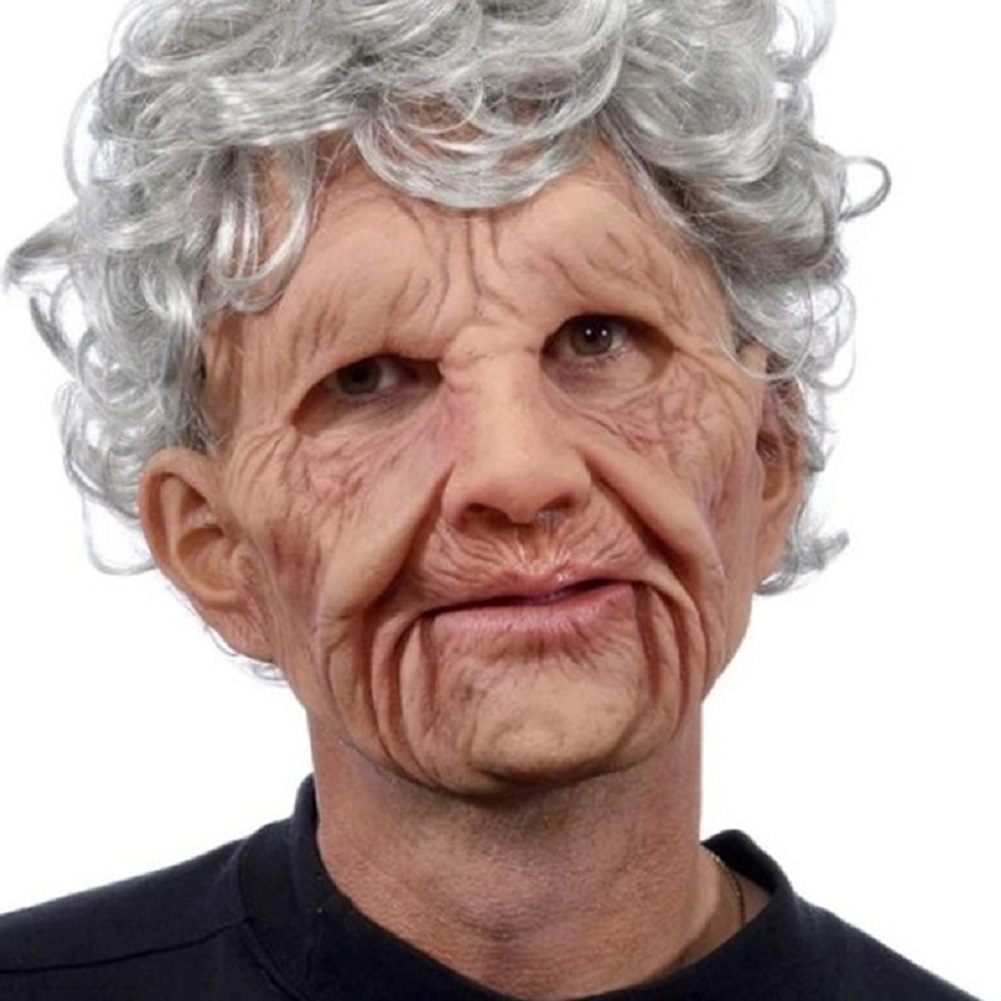 New-Cosplay-Bald-Old-Man-Creepy-Wrinkle-Face-Mask-Halloween-Party-Carnival-Props thumbnail 12
