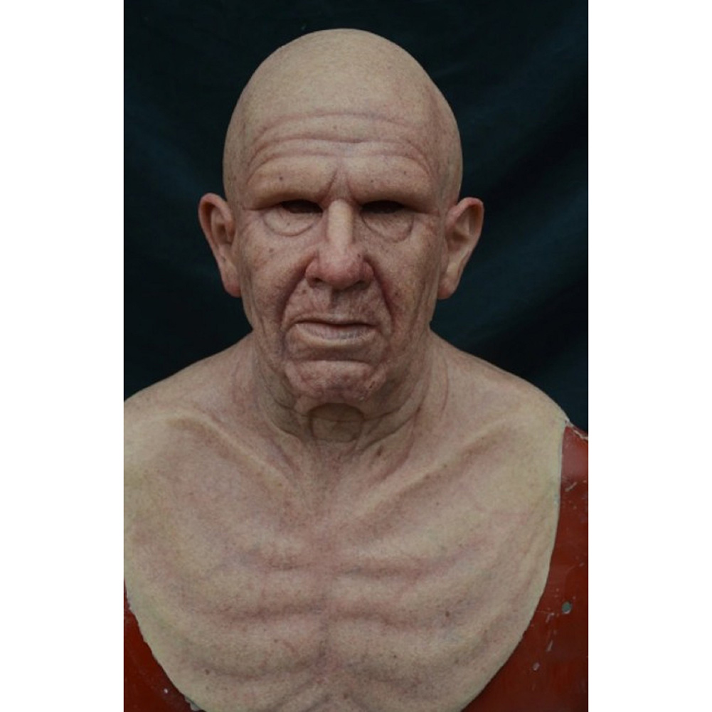 New-Cosplay-Bald-Old-Man-Creepy-Wrinkle-Face-Mask-Halloween-Party-Carnival-Props thumbnail 13