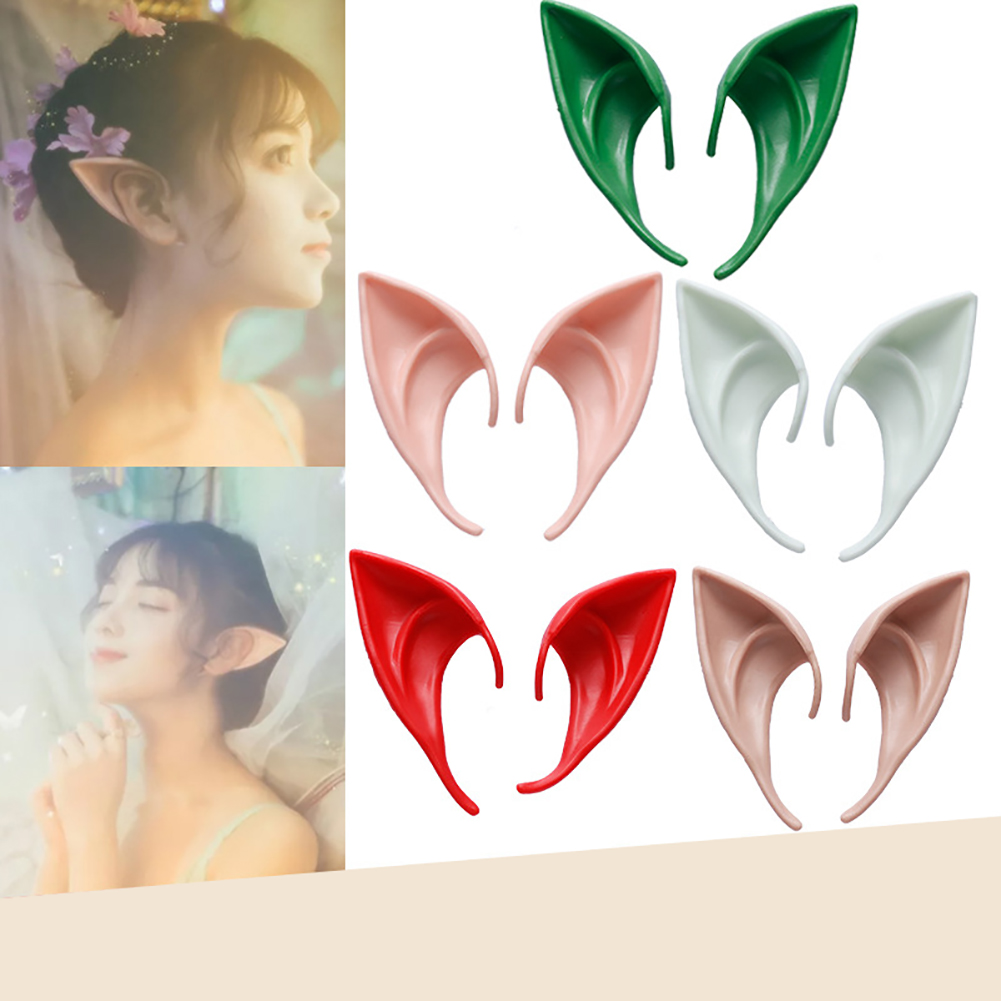 2 Pairs Latex Elf Ears Cosplay Wrap Fairy Goblin Ears Costume Halloween Props