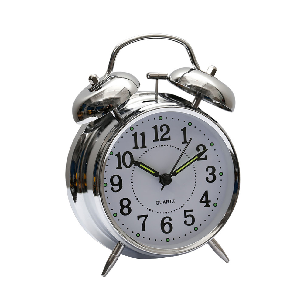 US Silent Quartz Analog Twin Bell Alarm Clock With ...