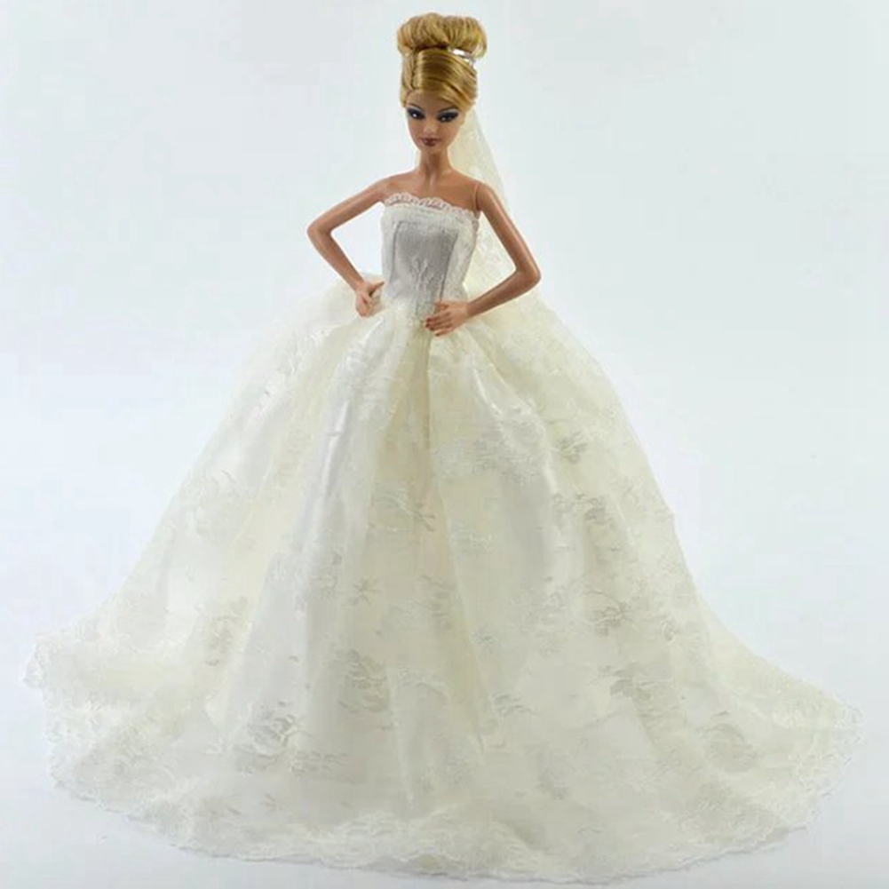 Details about Doll Dresses Clothes Wedding Dress For Doll Long Tail Evening  Gown +Veil US ccf03ba086dc