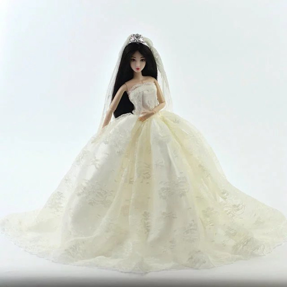 Handmade Princess Wedding Party Dress Clothes Bridal Gown Veil For Barbie Doll