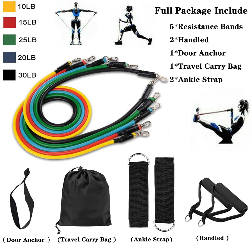 11Pcs Set Resistance Band Yoga Pilates Abs Exercise Fitness Tube Workout Bands