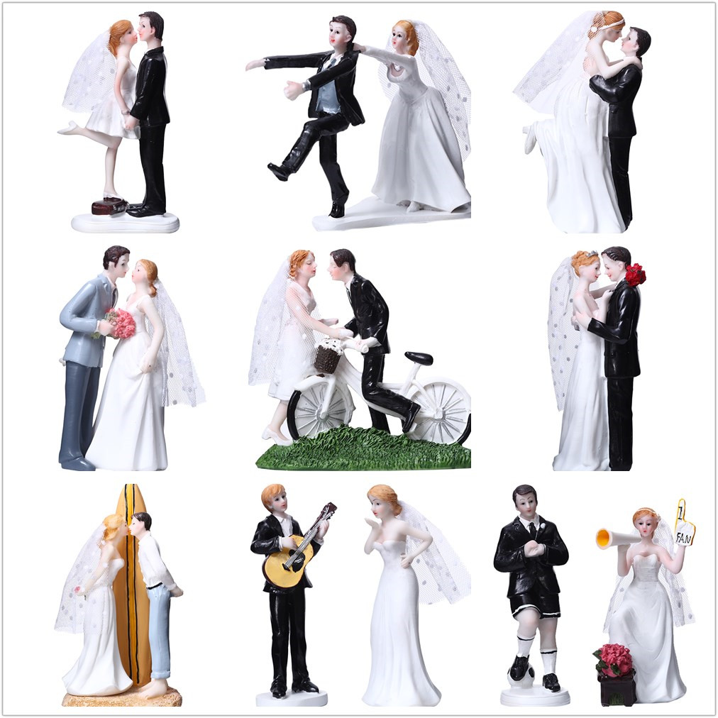 362693f6ae93 Details about Funny Bride Groom Couple Figure Cake Topper Wedding Home  Desktop Cake Decor Gift