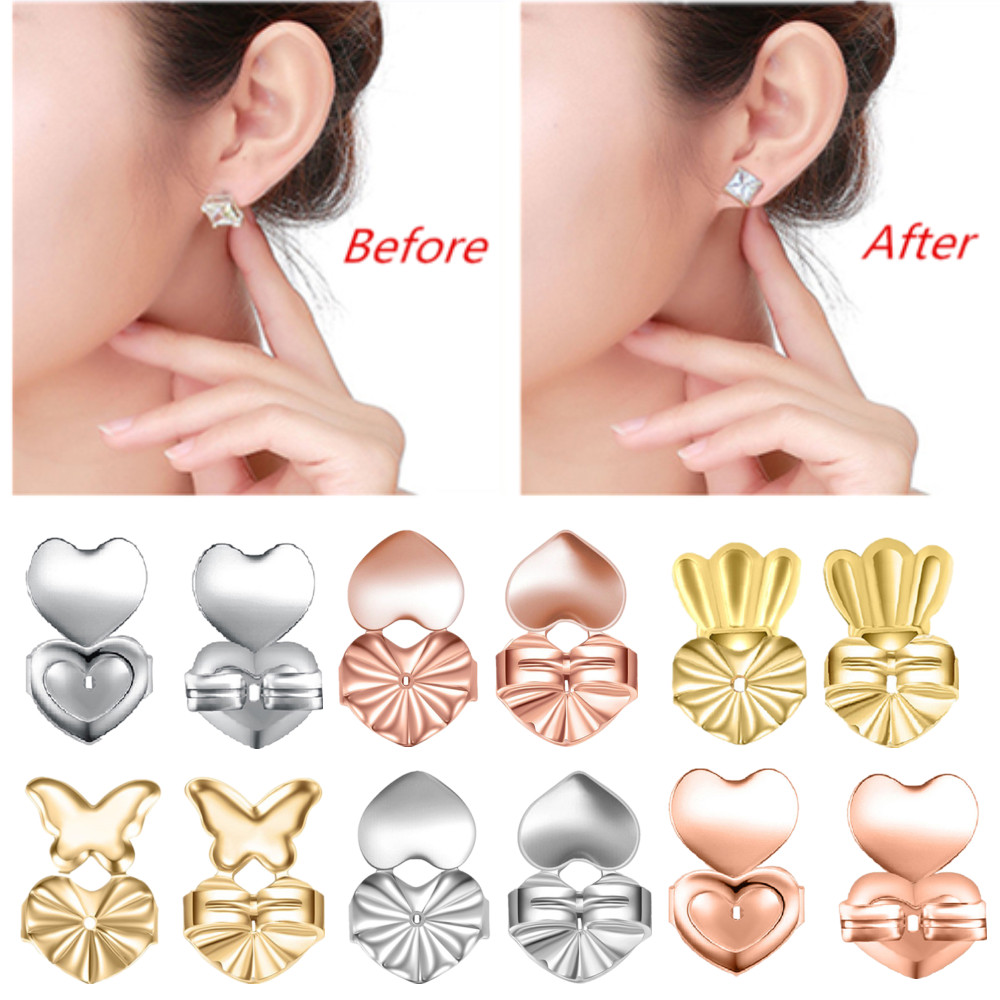 Lifters Gold Silver Pierced Ear Lobe Earrings Backs Lift Support Post Stud