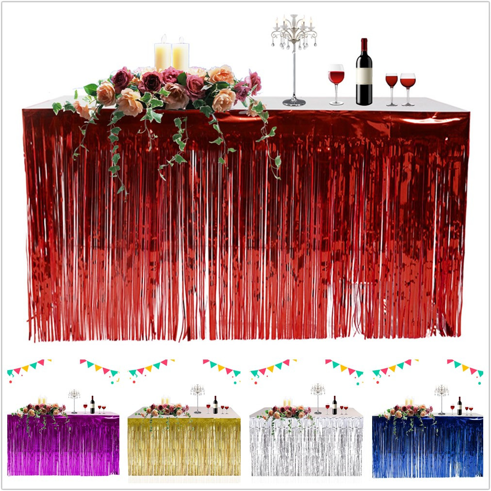 2 Pcs Shiny Tel Table Skirt Curtain Wedding Birthday Party Home Decor
