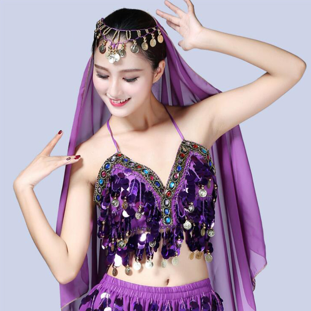 Belly-Dance-Bra-Sequined-Beaded-Crop-Tops-Sexy-Dancing-Costume-Fringe-Costume thumbnail 11