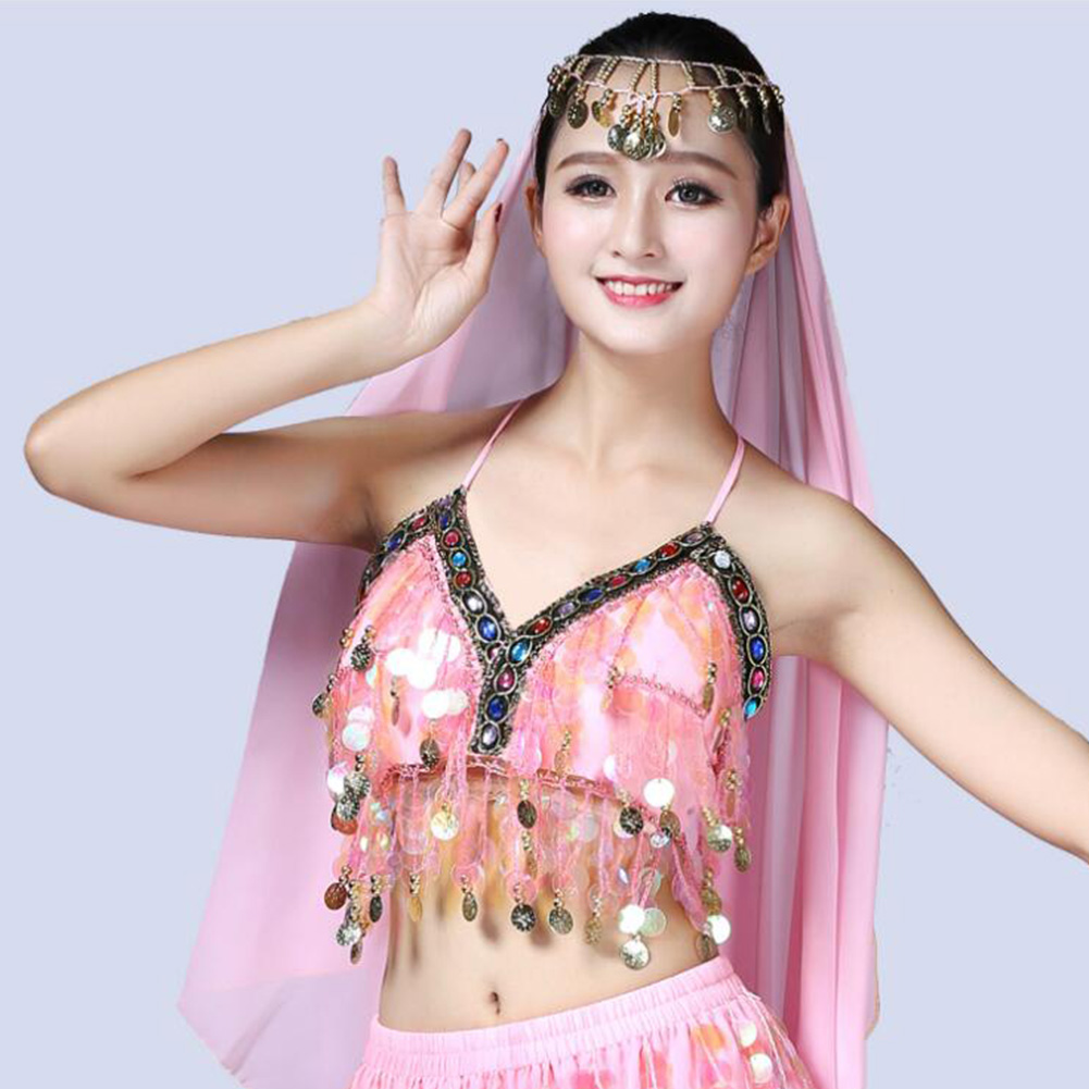 Belly-Dance-Bra-Sequined-Beaded-Crop-Tops-Sexy-Dancing-Costume-Fringe-Costume thumbnail 14
