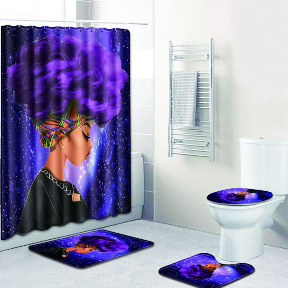 African Women Printing Toilet Pad Cover Bath Mat Shower Curtain Set