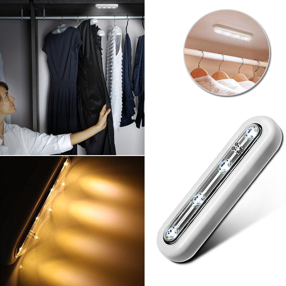 4 LED Schrank Licht Schrank Touch Sensor Wand Nacht Lampe